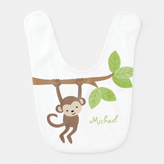 Cute Monkey Personalized Bib