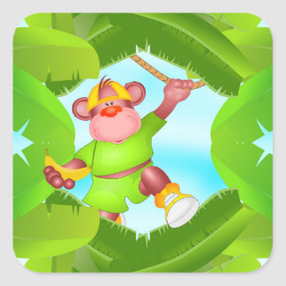 Cute Monkey Playing in the Trees Square Sticker