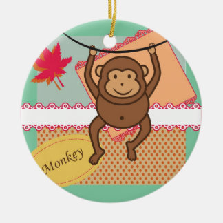 Cute monkey round ceramic decoration