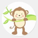 Cute Monkey Round Stickers