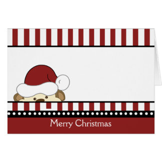 CUTE MONKEY SANTA CHRISTMAS CARD