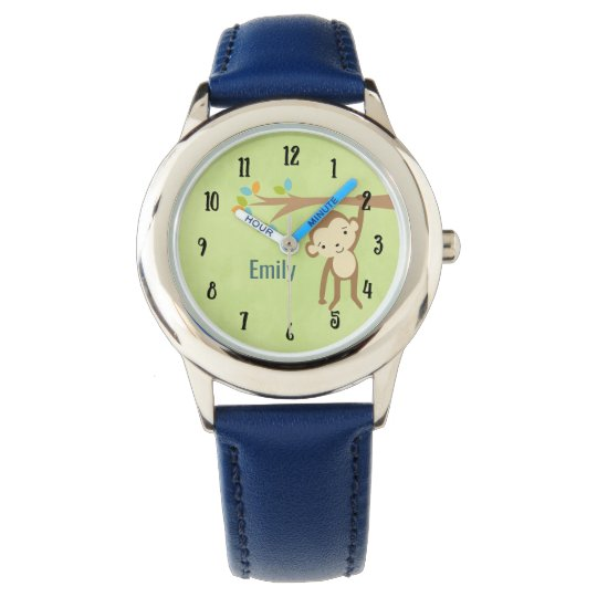 Cute Monkey Swinging From a Branch Personalised Watch