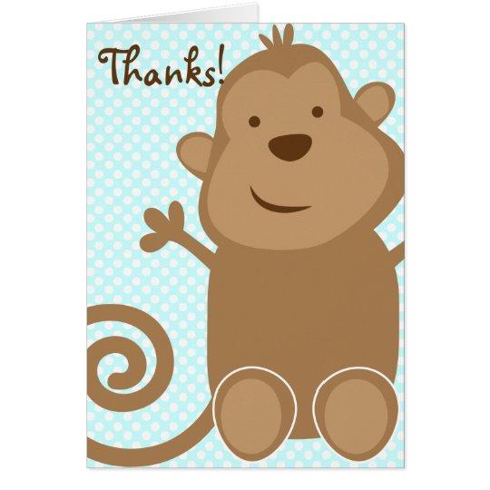 Cute Monkey Thank You Card - Teal (Blank Inside)