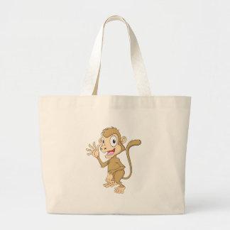 Cute Monkey Waving Hand Hi Hello Goodbye Large Tote Bag