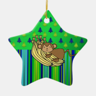 Cute monkey with bananas christmas ornament