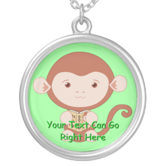 Cute Monkey with Book Necklace