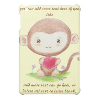 Cute Monkey with Heart iPad Case