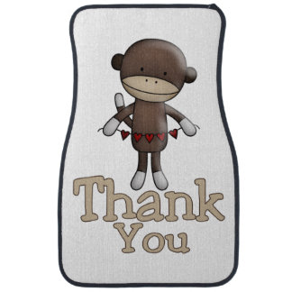 Cute Monkey With Hearts Thank You Car Mat