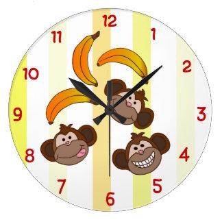Cute Monkeys and bananas Clock