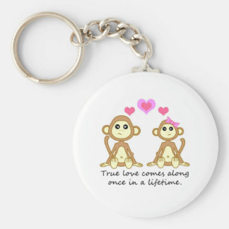 Cute Monkeys - True Love Comes Along Once in a... Basic Round Button Key Ring