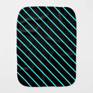 Cute monogram aqua black stripes burp cloth