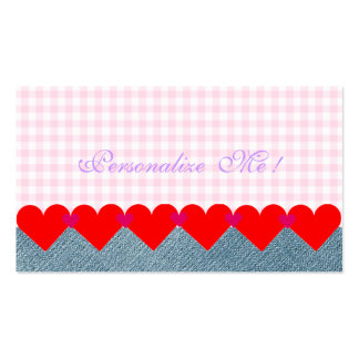 Cute Monogram Girly Hearts Modern Pink Denim Jeans Pack Of Standard Business Cards