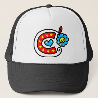 Cute Monogram Letter C Greeting Text Expression Trucker Hat