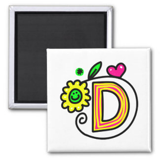 Cute Monogram Letter D Greeting Text Expression Square Magnet