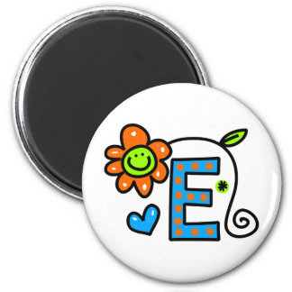 Cute Monogram Letter E Greeting Text Expression 6 Cm Round Magnet