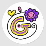 Cute Monogram Letter G Greeting Text Expression Round Sticker