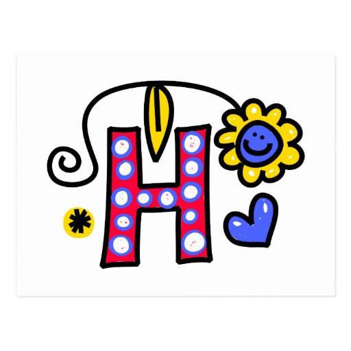 Cute Monogram Letter H Greeting Text Expression Postcards