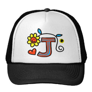 Cute Monogram Letter J Greeting Text Expression Cap