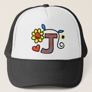 Cute Monogram Letter J Greeting Text Expression Trucker Hat