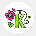 Cute Monogram Letter K Greeting Text Expression Round Sticker