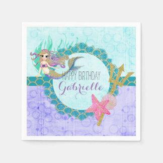 Cute Monogram Mermaid Teal & Purple Happy Birthday Disposable Serviettes
