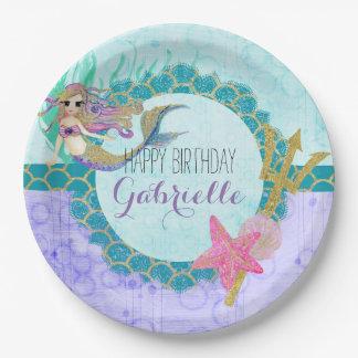 Cute Monogram Mermaid Teal & Purple Happy Birthday Paper Plate