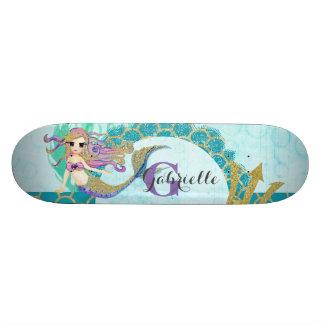 Cute Monogram Mermaid Teal & Purple Watercolor 20.6 Cm Skateboard Deck