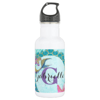 Cute Monogram Mermaid Teal & Purple Watercolor 532 Ml Water Bottle