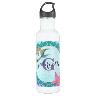 Cute Monogram Mermaid Teal & Purple Watercolor 710 Ml Water Bottle