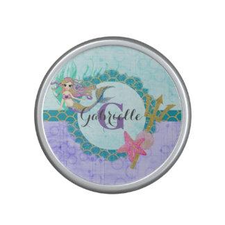 Cute Monogram Mermaid Teal & Purple Watercolor Bluetooth Speaker