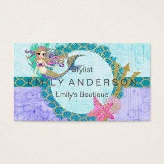 Cute Monogram Mermaid Teal & Purple Watercolor Business Card