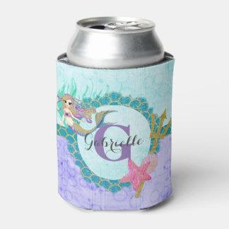 Cute Monogram Mermaid Teal & Purple Watercolor Can Cooler