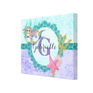 Cute Monogram Mermaid Teal & Purple Watercolor Canvas Print