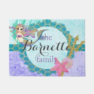 Cute Monogram Mermaid Teal & Purple Watercolor Doormat