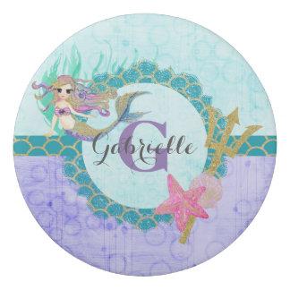 Cute Monogram Mermaid Teal & Purple Watercolor Eraser
