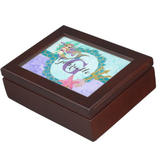 Cute Monogram Mermaid Teal & Purple Watercolor Keepsake Box