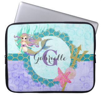 Cute Monogram Mermaid Teal & Purple Watercolor Laptop Sleeve