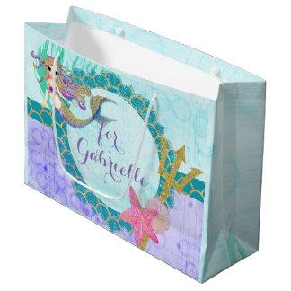 Cute Monogram Mermaid Teal & Purple Watercolor Large Gift Bag