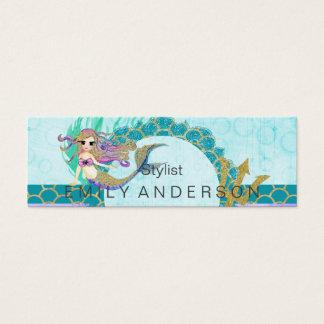 Cute Monogram Mermaid Teal & Purple Watercolor Mini Business Card