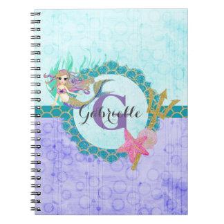 Cute Monogram Mermaid Teal & Purple Watercolor Notebooks
