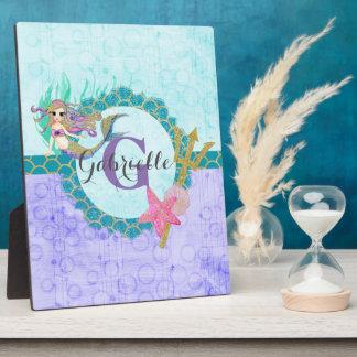 Cute Monogram Mermaid Teal & Purple Watercolor Plaque