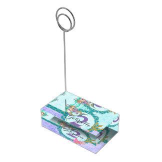 Cute Monogram Mermaid Teal & Purple Watercolor Table Card Holder