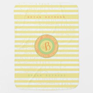 cute monogram on yellow striped baby blanket