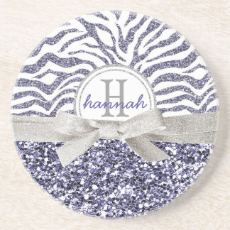 Cute Monogram Wild Glitter Look Zebra Pattern Coaster