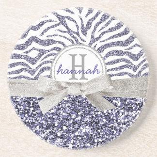 Cute Monogram Wild Glitter Look Zebra Pattern Drink Coasters