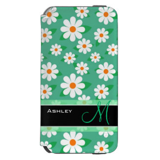 Cute Monogrammed Green Daisy Floral Flowers Incipio Watson™ iPhone 6 Wallet Case