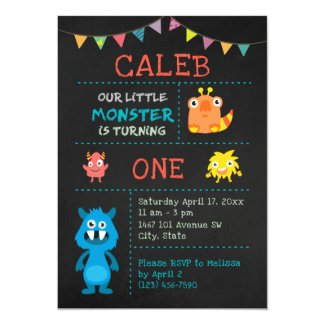 Cute Monster 1st Birthday Chalkboard Banner Invitation