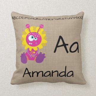 Cute Monster Alphabet Letters Nursery Decor Cushion