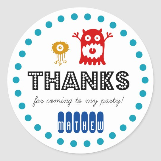 Cute monster birthday party sticker, thank you classic