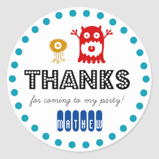 Cute monster birthday party sticker, thank you classic round sticker